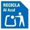 Simbolo para reciclar al contenedor azul de papel y carton